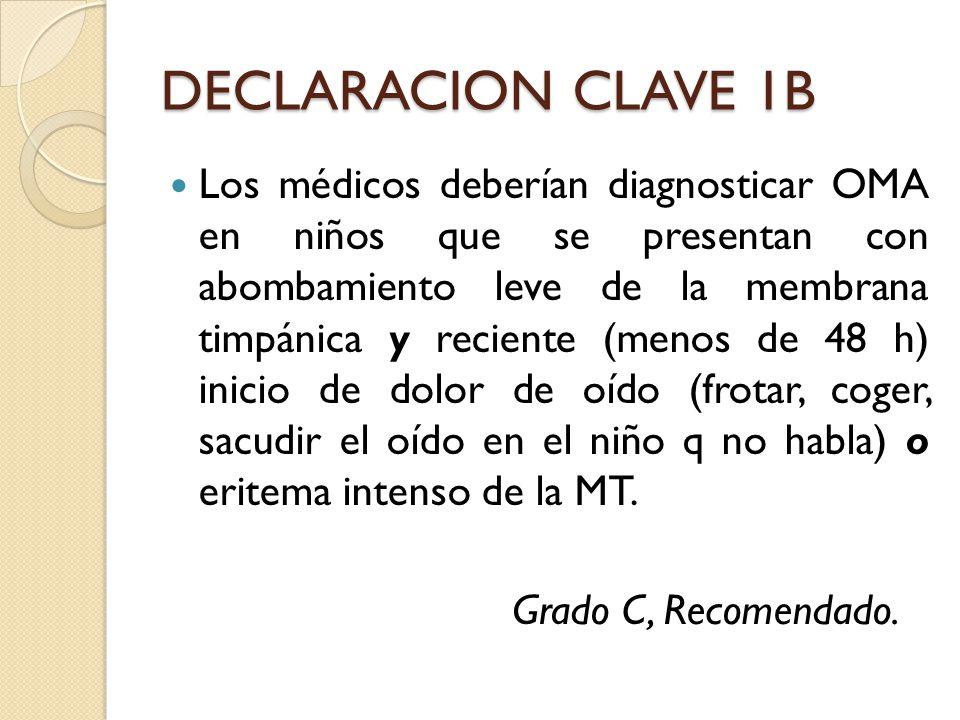 DECLARACION CLAVE 1B Los médicos deberían diagnosticar OMA en niños que se presentan con abombamiento leve de la membrana timpánica y reciente (menos