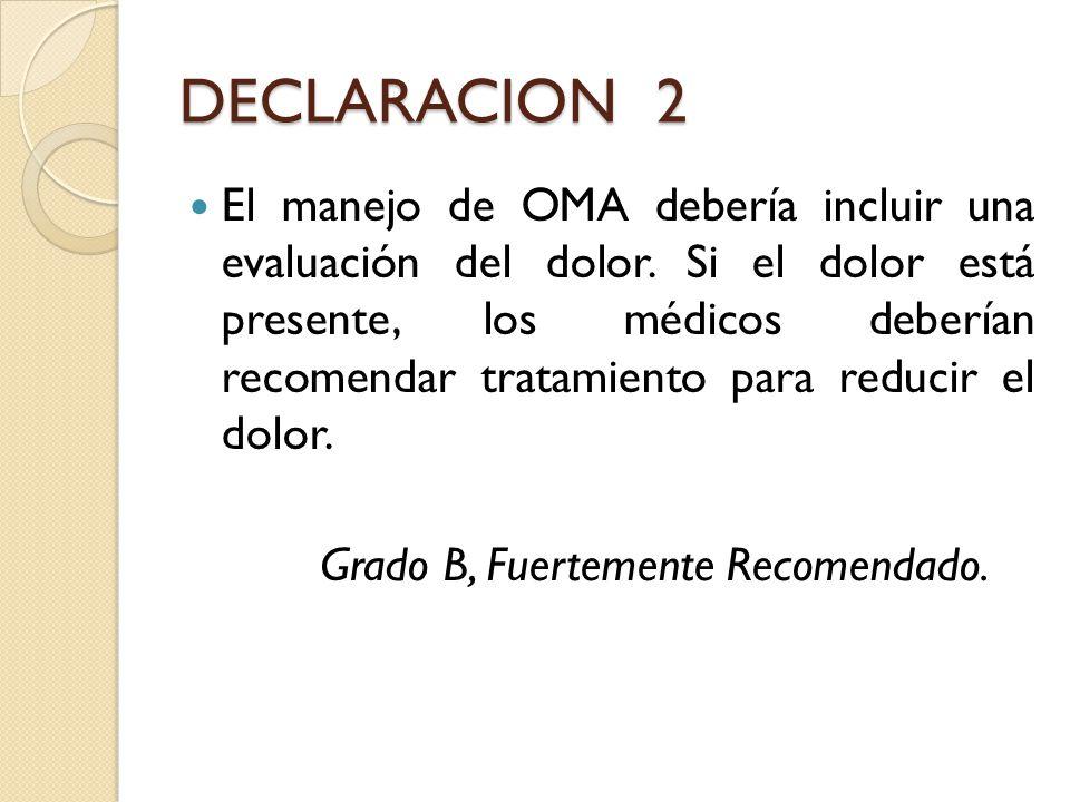 DECLARACION 2 El manejo de OMA debería incluir una evaluación del dolor. Si el dolor está presente, los médicos deberían recomendar tratamiento para r