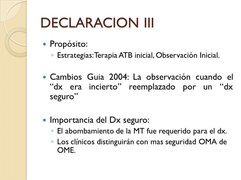 DECLARACION III Propósito: Estrategias: Terapia ATB inicial, Observación Inicial. Cambios Guia 2004: La observación cuando el dx era incierto reemplaz