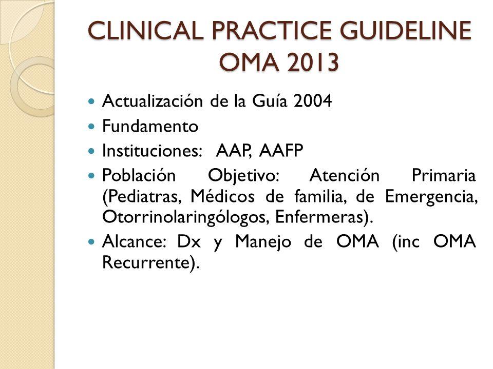 CLINICAL PRACTICE GUIDELINE OMA 2013 Actualización de la Guía 2004 Fundamento Instituciones: AAP, AAFP Población Objetivo: Atención Primaria (Pediatra