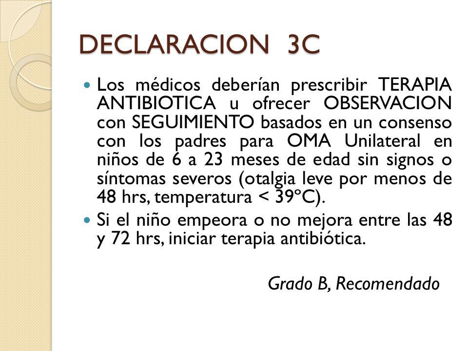 DECLARACION 3C Los médicos deberían prescribir TERAPIA ANTIBIOTICA u ofrecer OBSERVACION con SEGUIMIENTO basados en un consenso con los padres para OM