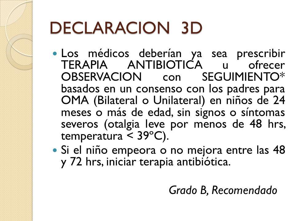 DECLARACION 3D Los médicos deberían ya sea prescribir TERAPIA ANTIBIOTICA u ofrecer OBSERVACION con SEGUIMIENTO* basados en un consenso con los padres