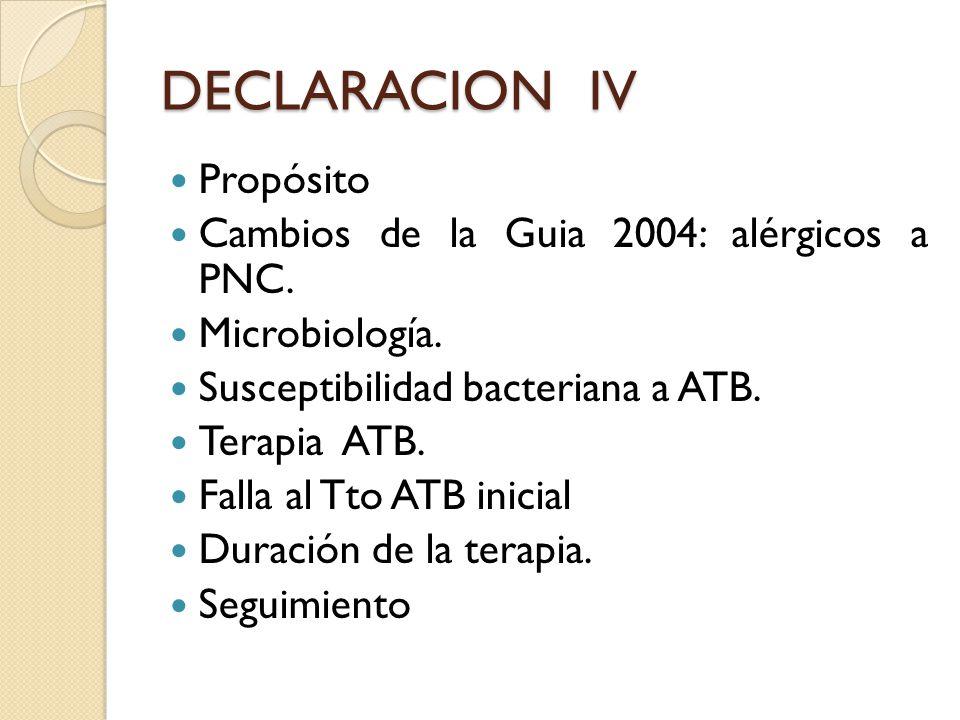 DECLARACION IV Propósito Cambios de la Guia 2004: alérgicos a PNC. Microbiología. Susceptibilidad bacteriana a ATB. Terapia ATB. Falla al Tto ATB inic