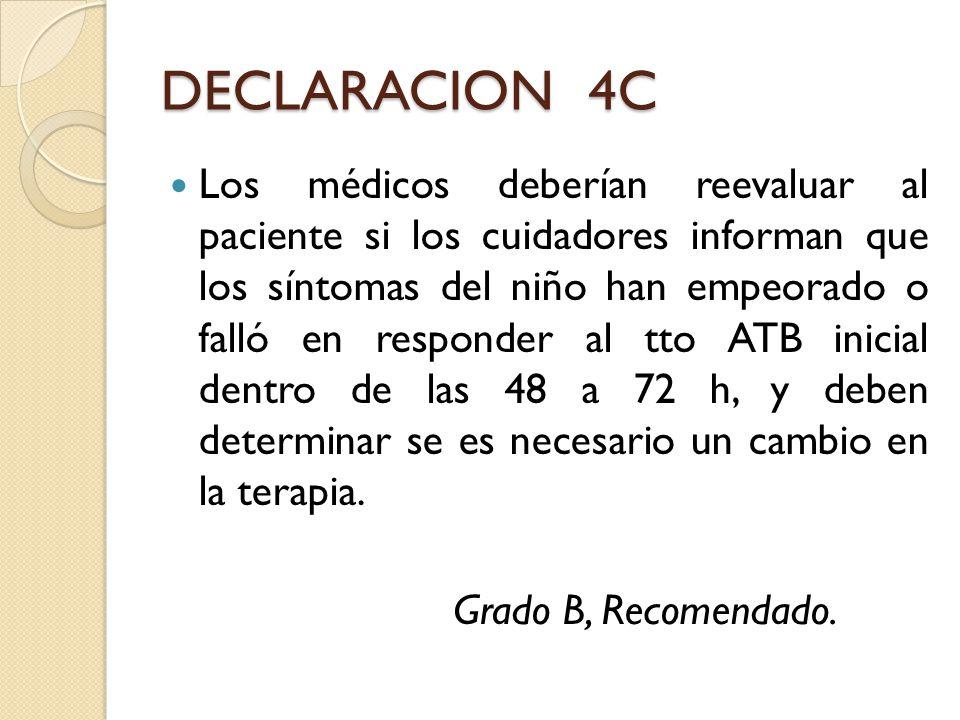 DECLARACION 4C Los médicos deberían reevaluar al paciente si los cuidadores informan que los síntomas del niño han empeorado o falló en responder al t
