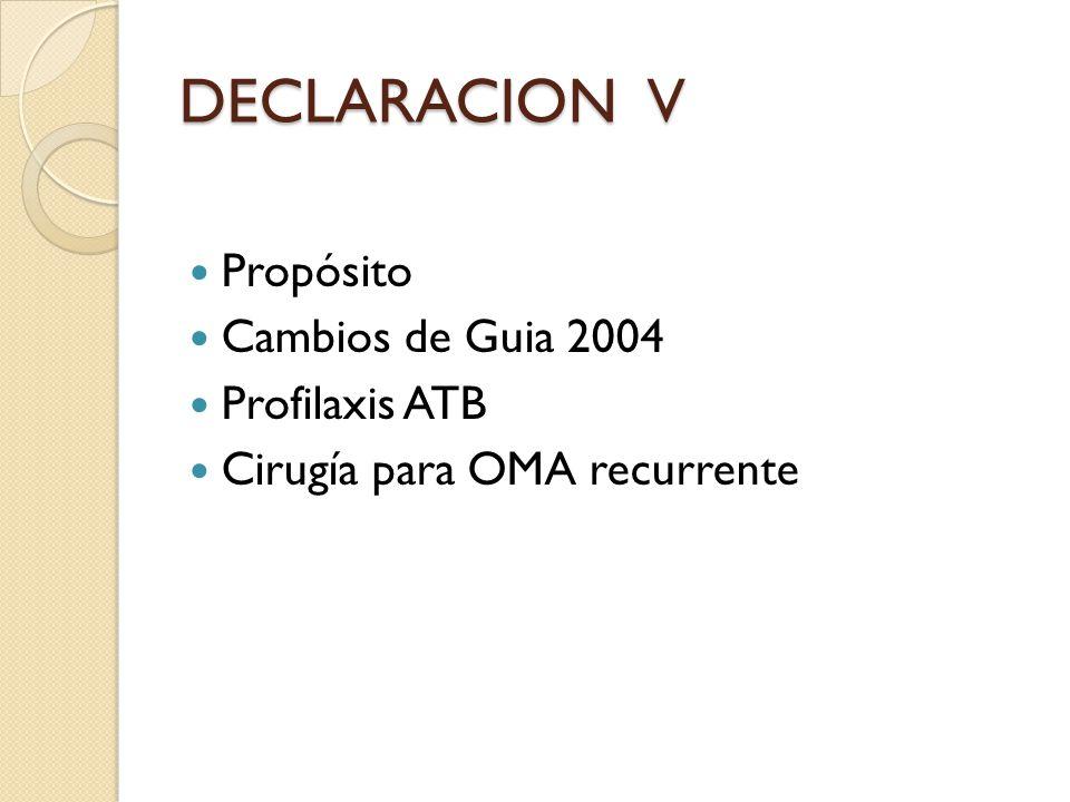 DECLARACION V Propósito Cambios de Guia 2004 Profilaxis ATB Cirugía para OMA recurrente