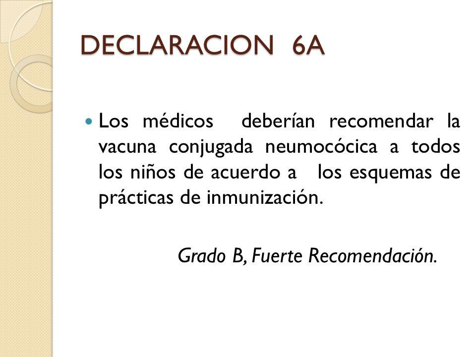 DECLARACION 6A Los médicos deberían recomendar la vacuna conjugada neumocócica a todos los niños de acuerdo a los esquemas de prácticas de inmunizació