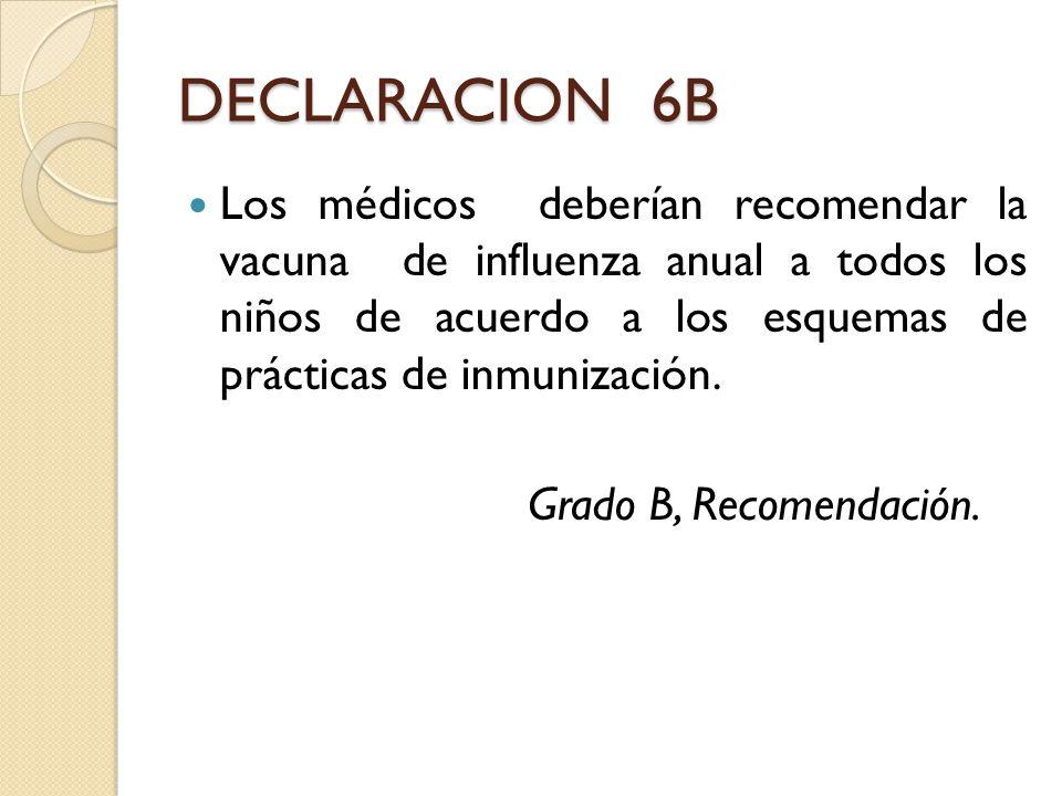 DECLARACION 6B Los médicos deberían recomendar la vacuna de influenza anual a todos los niños de acuerdo a los esquemas de prácticas de inmunización.