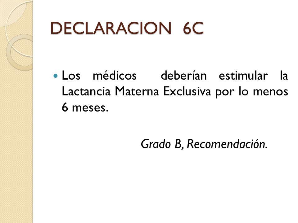 DECLARACION 6C Los médicos deberían estimular la Lactancia Materna Exclusiva por lo menos 6 meses. Grado B, Recomendación.
