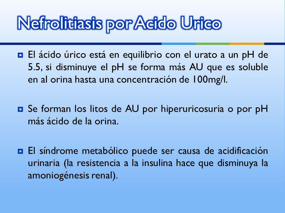 El ácido úrico está en equilibrio con el urato a un pH de 5.5, si disminuye el pH se forma más AU que es soluble en al orina hasta una concentración d