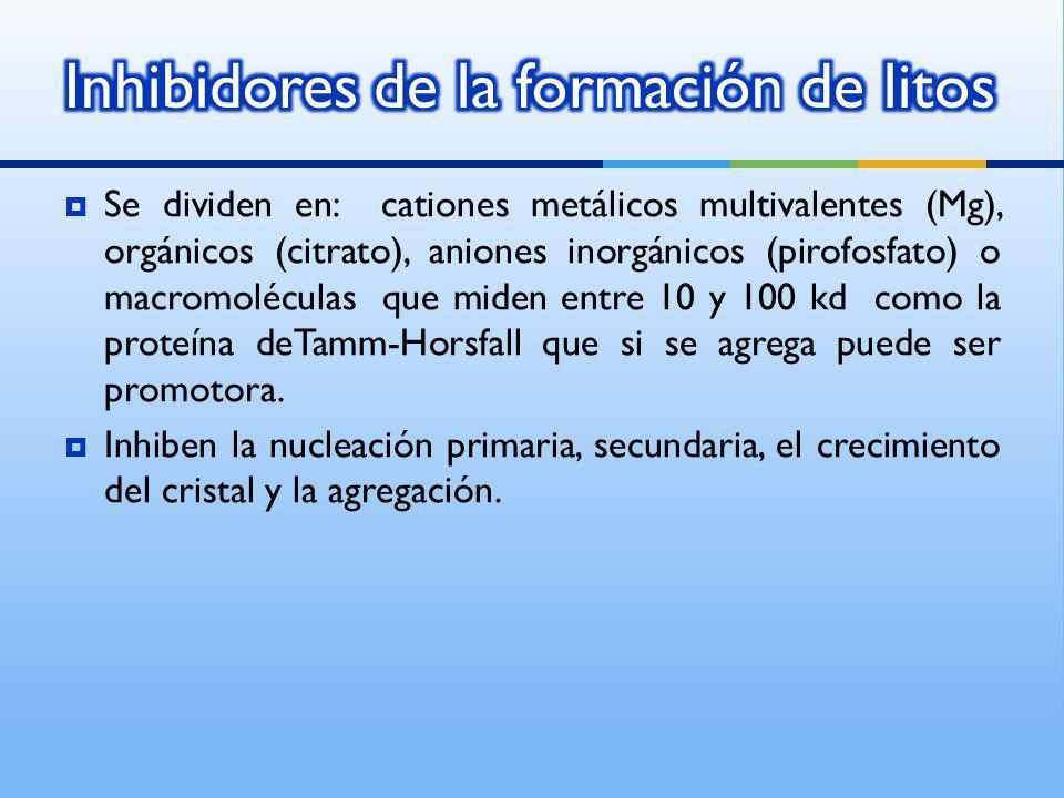 Se dividen en: cationes metálicos multivalentes (Mg), orgánicos (citrato), aniones inorgánicos (pirofosfato) o macromoléculas que miden entre 10 y 100