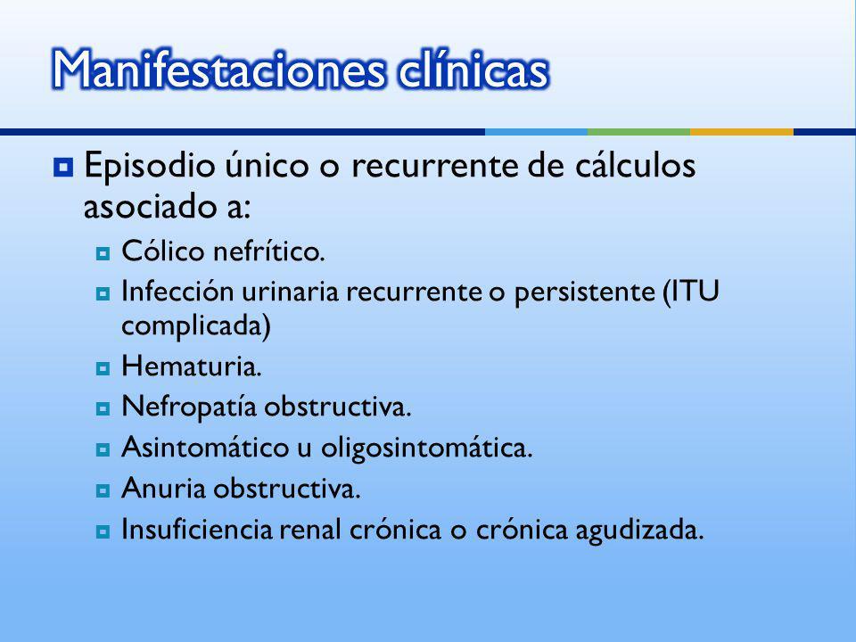 Episodio único o recurrente de cálculos asociado a: Cólico nefrítico. Infección urinaria recurrente o persistente (ITU complicada) Hematuria. Nefropat