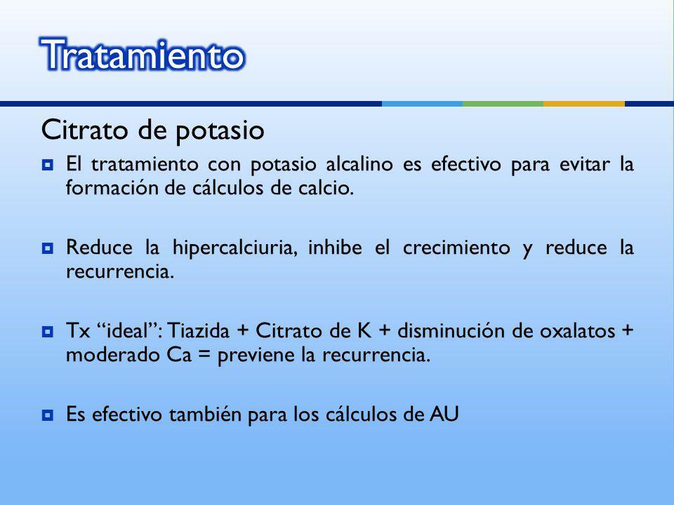 Citrato de potasio El tratamiento con potasio alcalino es efectivo para evitar la formación de cálculos de calcio. Reduce la hipercalciuria, inhibe el