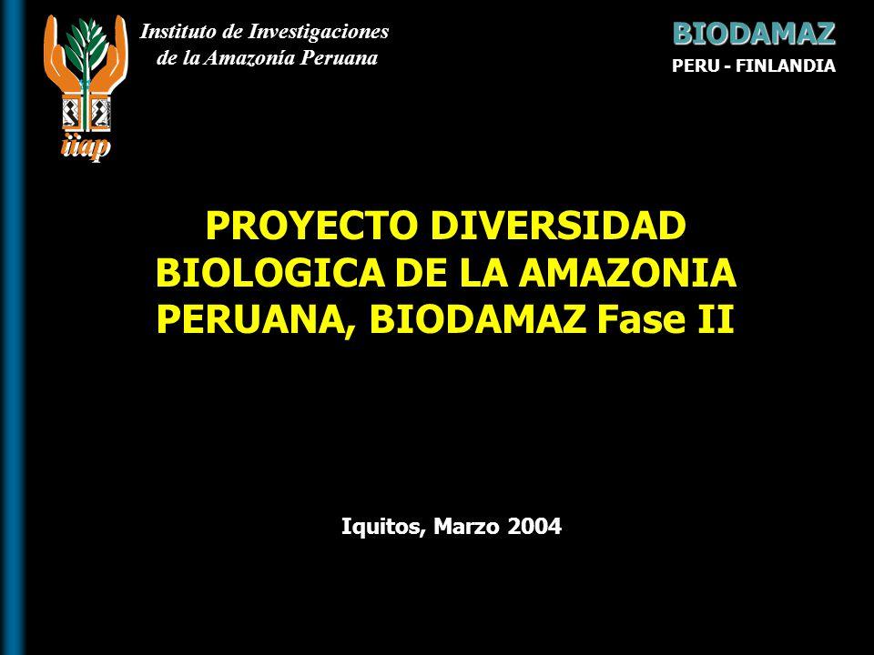Instituto de Investigaciones de la Amazonía Peruana Iquitos, Marzo 2004 PROYECTO DIVERSIDAD BIOLOGICA DE LA AMAZONIA PERUANA, BIODAMAZ Fase II BIODAMA