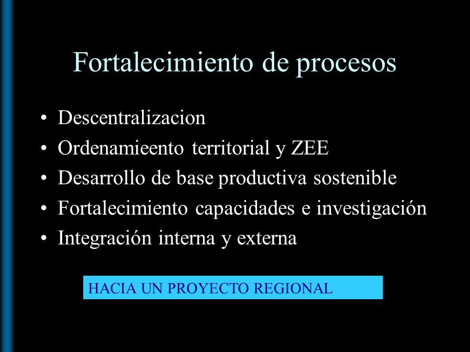 Fortalecimiento de procesos Descentralizacion Ordenamieento territorial y ZEE Desarrollo de base productiva sostenible Fortalecimiento capacidades e i
