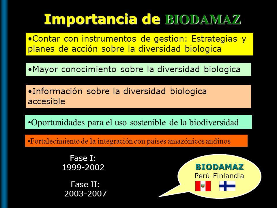 ASISTIR AL DESARROLLO SOCIOECONOMICO DE LA AMAZONIA PERUANA BIODAMAZ CONSERVACION Y USO SOSTENIBLE DE LA DB AMAZONICA CONSERVACION Y USO SOSTENIBLE DE LA DB AMAZONICA OBJETIVO GENERAL INSTRUMENTOS DE GESTION INSTRUMENTOS DE GESTION RESULTADOS METODOLOGIAS -Mosaico IS -Evaluación DV -Identificación MUA -Evaluación DB/Indicad.