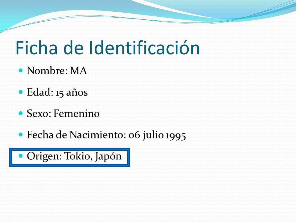 Ficha de Identificación Nombre: MA Edad: 15 años Sexo: Femenino Fecha de Nacimiento: 06 julio 1995 Origen: Tokio, Japón