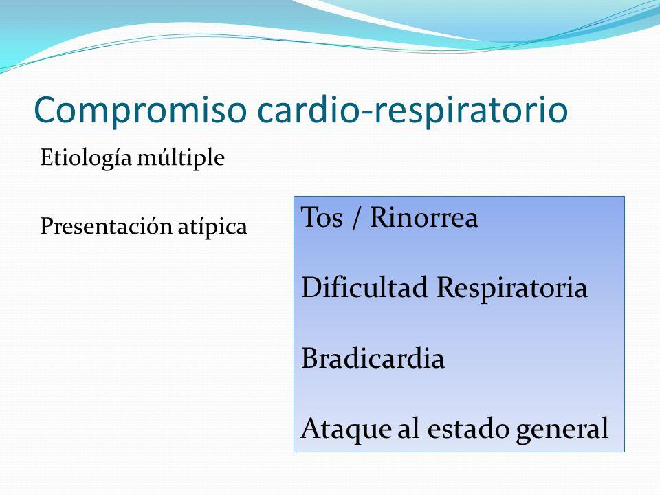 Compromiso cardio-respiratorio Etiología múltiple Presentación atípica Tos / Rinorrea Dificultad Respiratoria Bradicardia Ataque al estado general