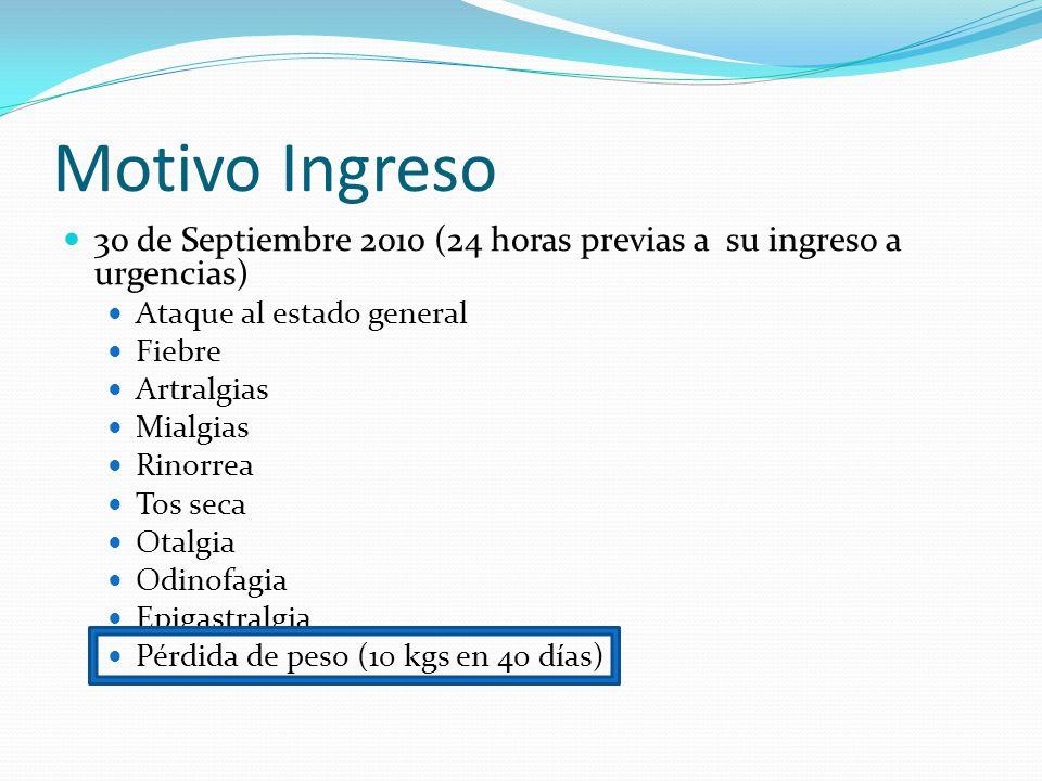 Motivo Ingreso 30 de Septiembre 2010 (24 horas previas a su ingreso a urgencias) Ataque al estado general Fiebre Artralgias Mialgias Rinorrea Tos seca