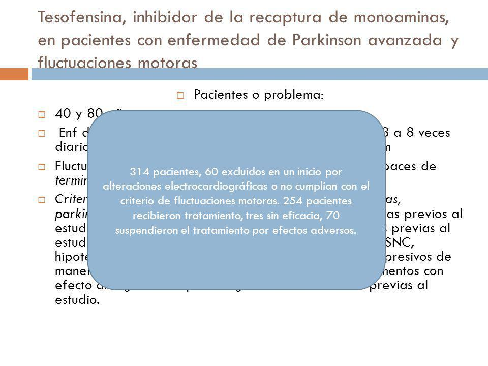 Tesofensina, inhibidor de la recaptura de monoaminas, en pacientes con enfermedad de Parkinson avanzada y fluctuaciones motoras Pacientes o problema: