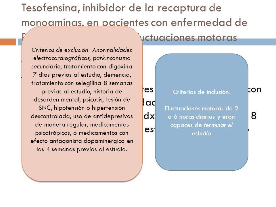 Tesofensina, inhibidor de la recaptura de monoaminas, en pacientes con enfermedad de Parkinson avanzada y fluctuaciones motoras III. Métodos a)Partici