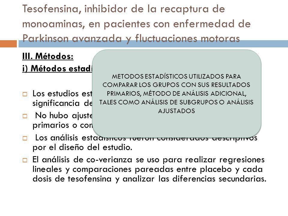 Tesofensina, inhibidor de la recaptura de monoaminas, en pacientes con enfermedad de Parkinson avanzada y fluctuaciones motoras III. Métodos: i) Métod