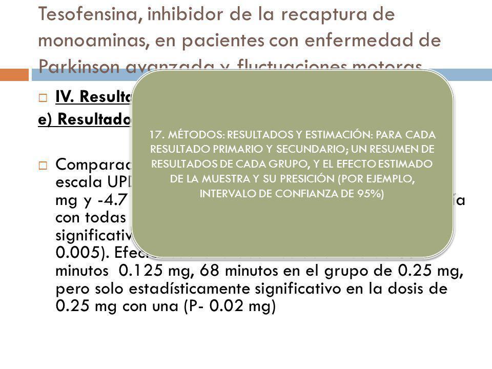Tesofensina, inhibidor de la recaptura de monoaminas, en pacientes con enfermedad de Parkinson avanzada y fluctuaciones motoras IV. Resultados: e) Res