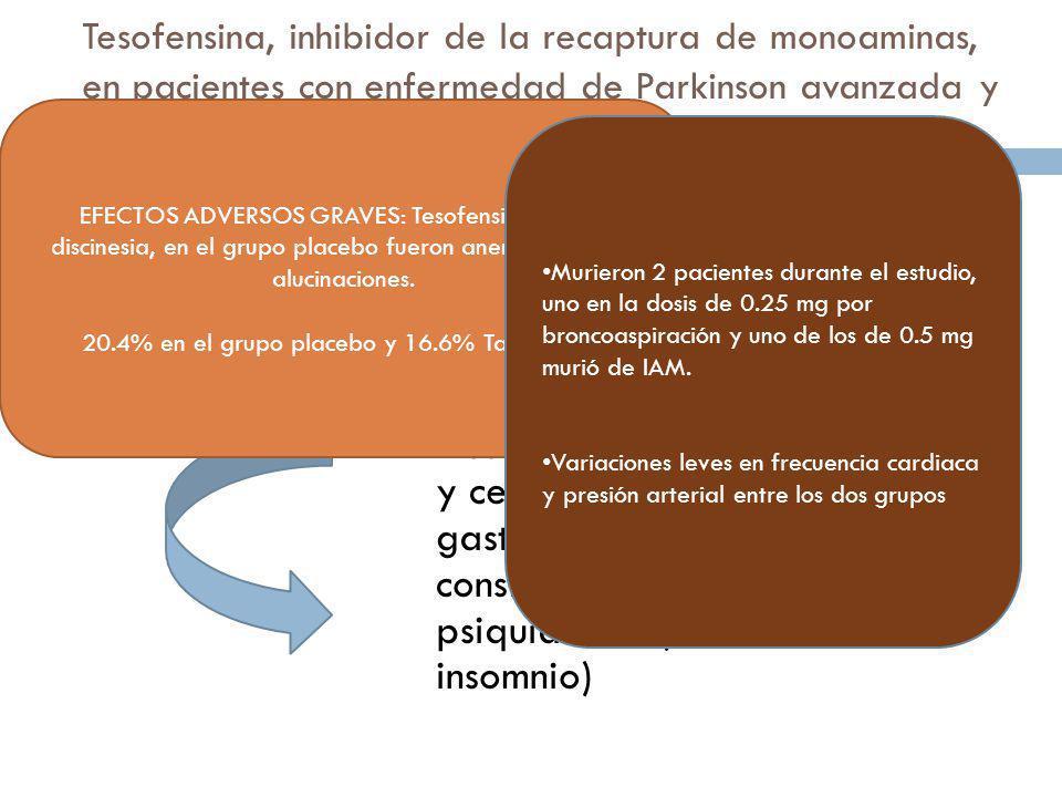 Tesofensina, inhibidor de la recaptura de monoaminas, en pacientes con enfermedad de Parkinson avanzada y fluctuaciones motoras IV: Resultados: g) Efe