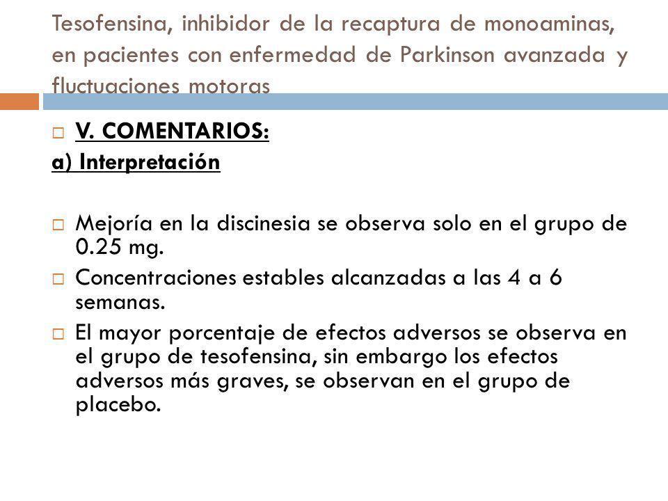 Tesofensina, inhibidor de la recaptura de monoaminas, en pacientes con enfermedad de Parkinson avanzada y fluctuaciones motoras V. COMENTARIOS: a) Int