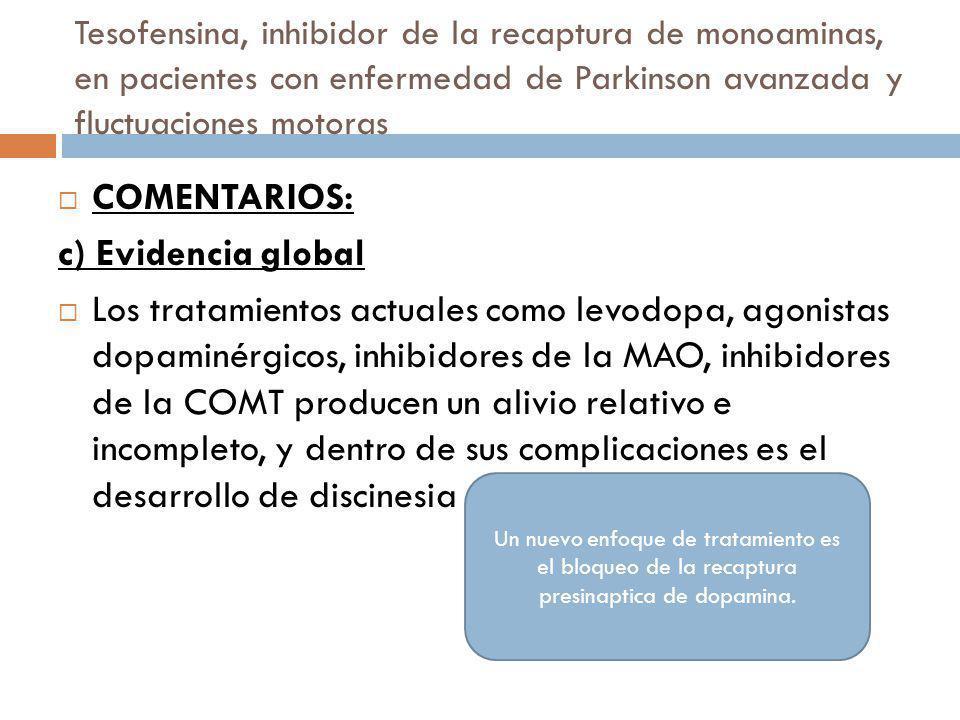Tesofensina, inhibidor de la recaptura de monoaminas, en pacientes con enfermedad de Parkinson avanzada y fluctuaciones motoras COMENTARIOS: c) Eviden