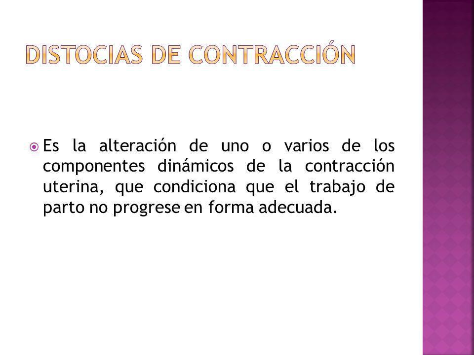 Es la alteración de uno o varios de los componentes dinámicos de la contracción uterina, que condiciona que el trabajo de parto no progrese en forma a