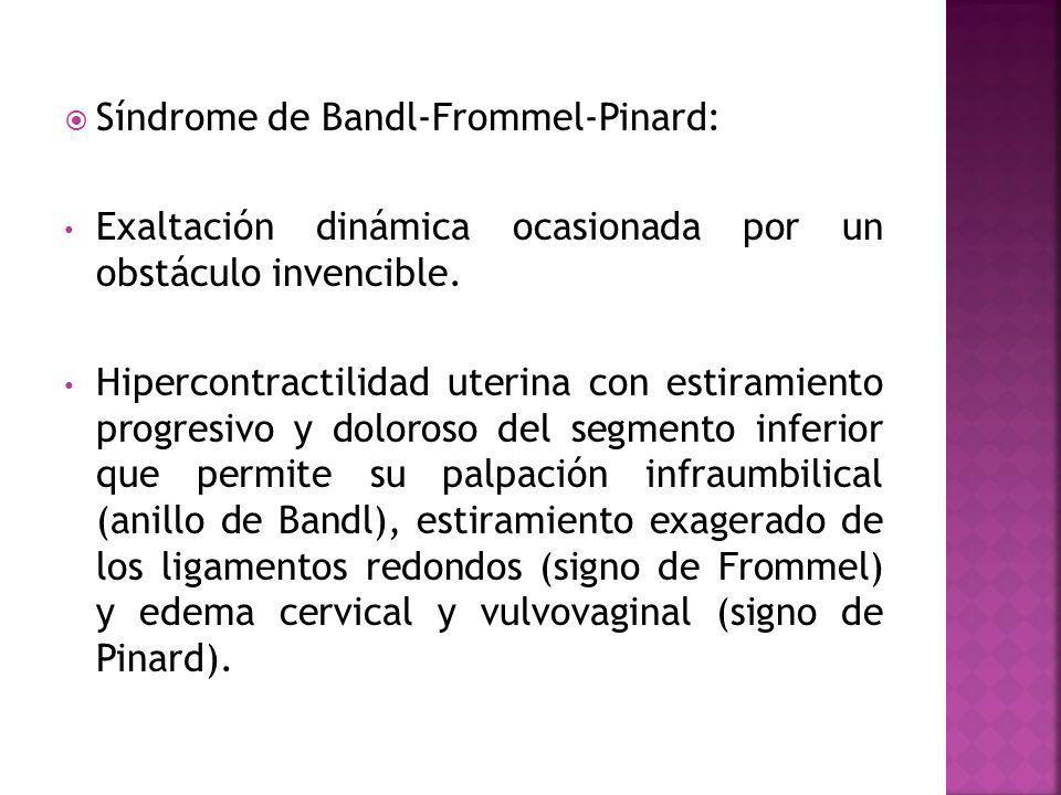 Síndrome de Bandl-Frommel-Pinard: Exaltación dinámica ocasionada por un obstáculo invencible. Hipercontractilidad uterina con estiramiento progresivo
