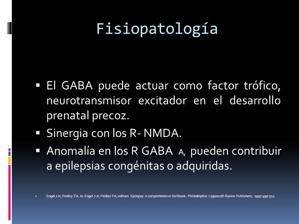Fisiopatología Receptores GABA B : es un R ligando a la proteína G que puede abrir los canales de Ca o K; son presinápticos y postsinápticos Los que se relaciona con los canales de K: hiperpolarización prolongada e inhibición postsináptica.