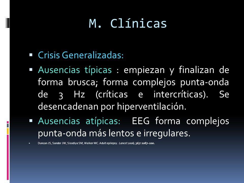 M. Clínicas Crisis Generalizadas: Ausencias típicas : empiezan y finalizan de forma brusca; forma complejos punta-onda de 3 Hz (críticas e intercrític