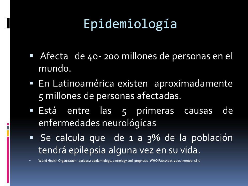 Epidemiología Afecta de 40- 200 millones de personas en el mundo. En Latinoamérica existen aproximadamente 5 millones de personas afectadas. Está entr