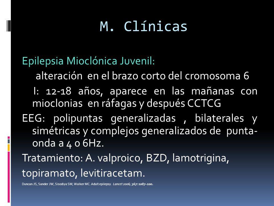 M. Clínicas Epilepsia Mioclónica Juvenil: alteración en el brazo corto del cromosoma 6 I: 12-18 años, aparece en las mañanas con mioclonias en ráfagas