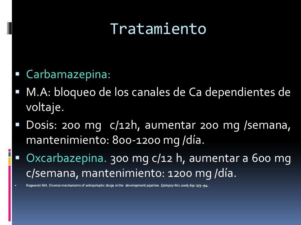 Tratamiento Carbamazepina: M.A: bloqueo de los canales de Ca dependientes de voltaje. Dosis: 200 mg c/12h, aumentar 200 mg /semana, mantenimiento: 800