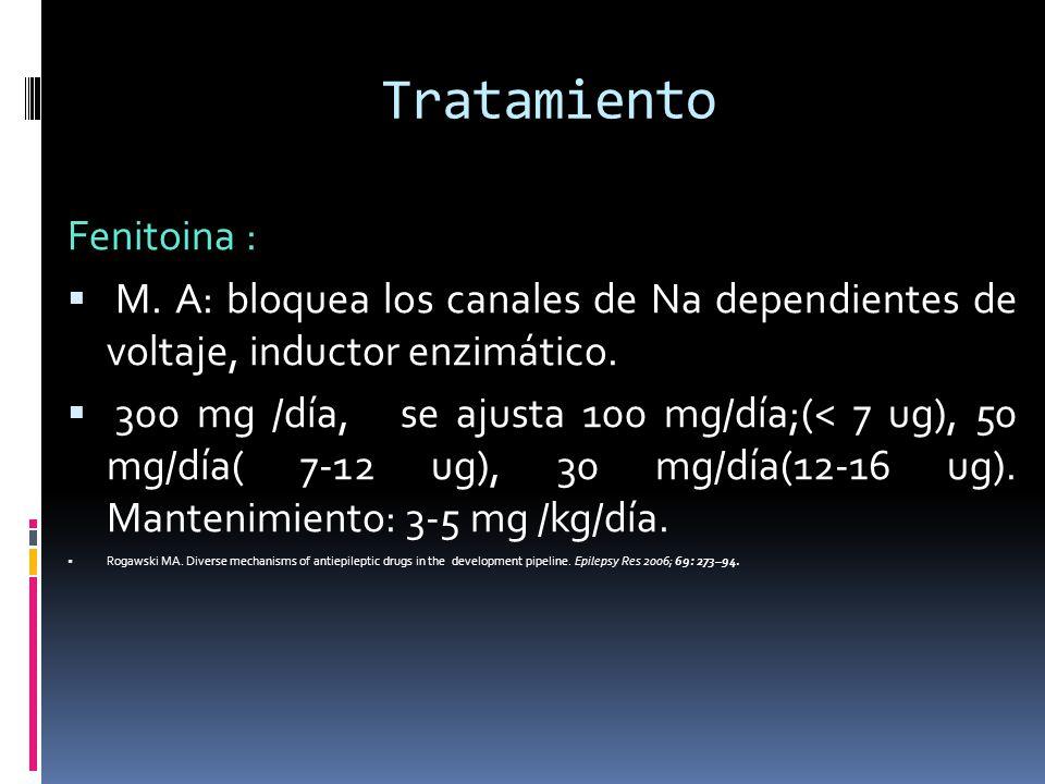 Tratamiento Fenitoina : M. A: bloquea los canales de Na dependientes de voltaje, inductor enzimático. 300 mg /día, se ajusta 100 mg/día;(< 7 ug), 50 m