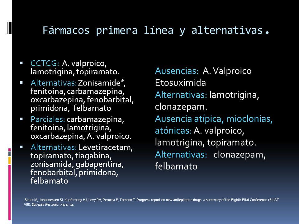 Fármacos primera línea y alternativas. CCTCG: A. valproico, lamotrigina, topiramato. Alternativas: Zonisamide *, fenitoina, carbamazepina, oxcarbazepi