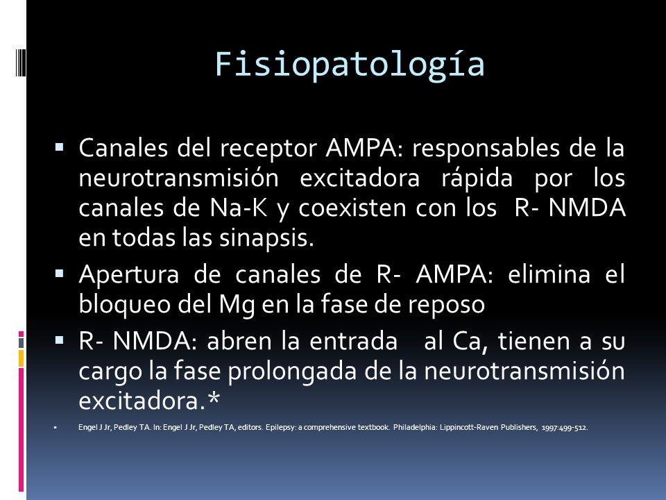 Fisiopatología Canales del receptor AMPA: responsables de la neurotransmisión excitadora rápida por los canales de Na-K y coexisten con los R- NMDA en