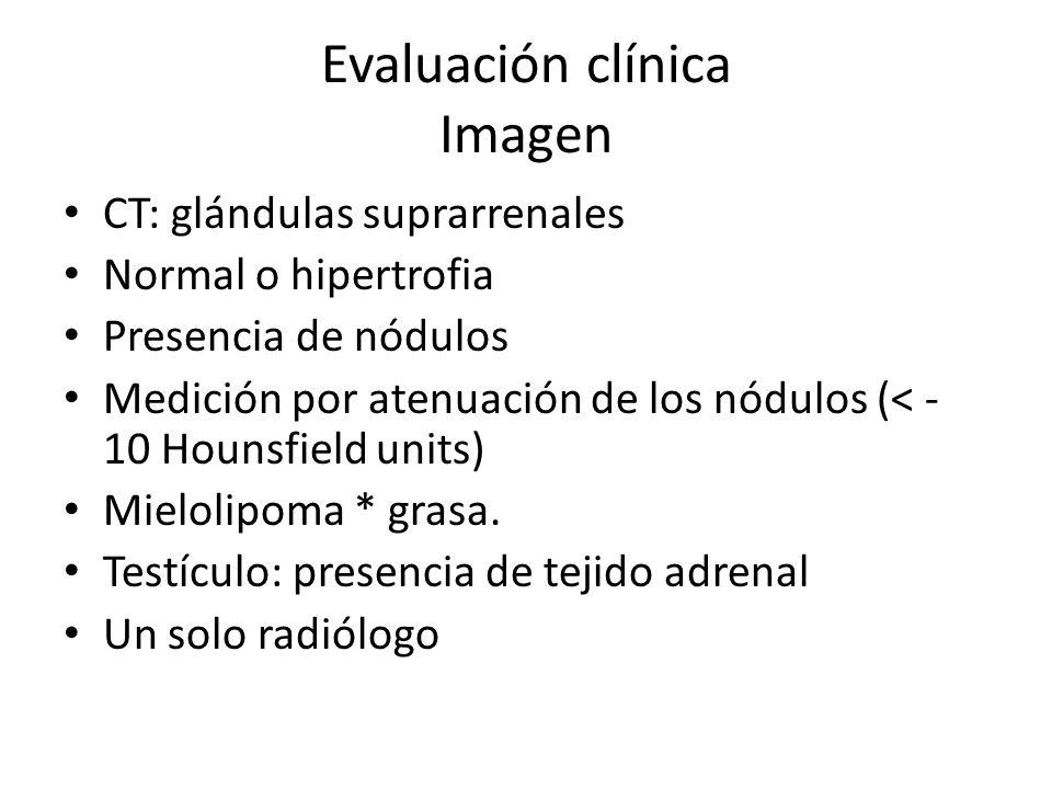 Evaluación clínica Imagen CT: glándulas suprarrenales Normal o hipertrofia Presencia de nódulos Medición por atenuación de los nódulos (< - 10 Hounsfi