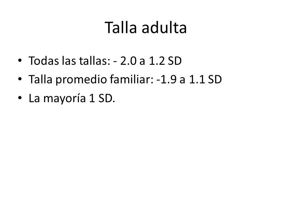 Talla adulta Todas las tallas: - 2.0 a 1.2 SD Talla promedio familiar: -1.9 a 1.1 SD La mayoría 1 SD.