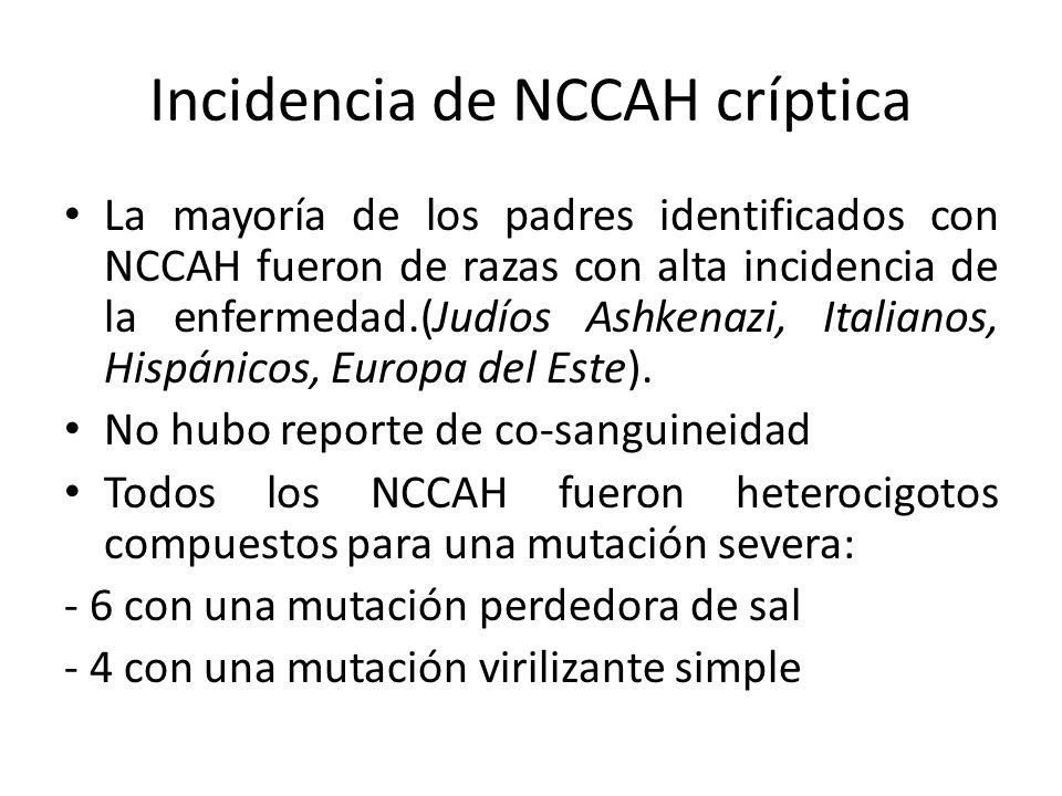 Incidencia de NCCAH críptica La mayoría de los padres identificados con NCCAH fueron de razas con alta incidencia de la enfermedad.(Judíos Ashkenazi,