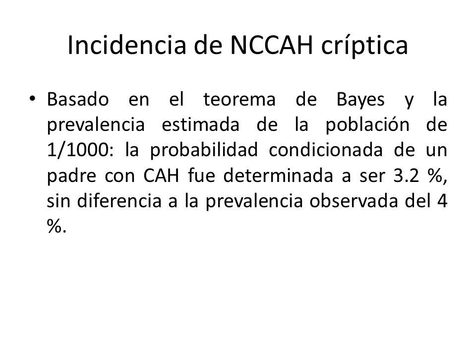 Incidencia de NCCAH críptica Basado en el teorema de Bayes y la prevalencia estimada de la población de 1/1000: la probabilidad condicionada de un pad