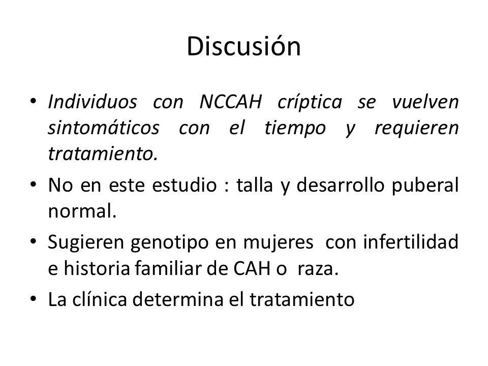 Discusión Individuos con NCCAH críptica se vuelven sintomáticos con el tiempo y requieren tratamiento. No en este estudio : talla y desarrollo puberal