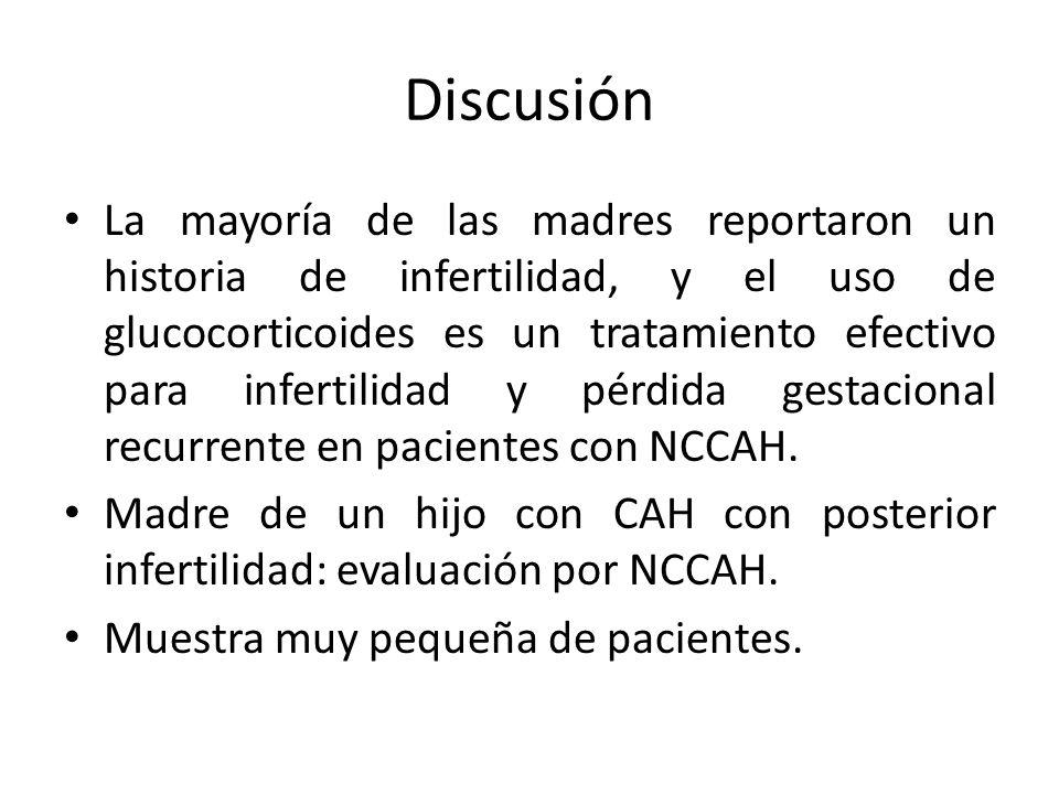 Discusión La mayoría de las madres reportaron un historia de infertilidad, y el uso de glucocorticoides es un tratamiento efectivo para infertilidad y