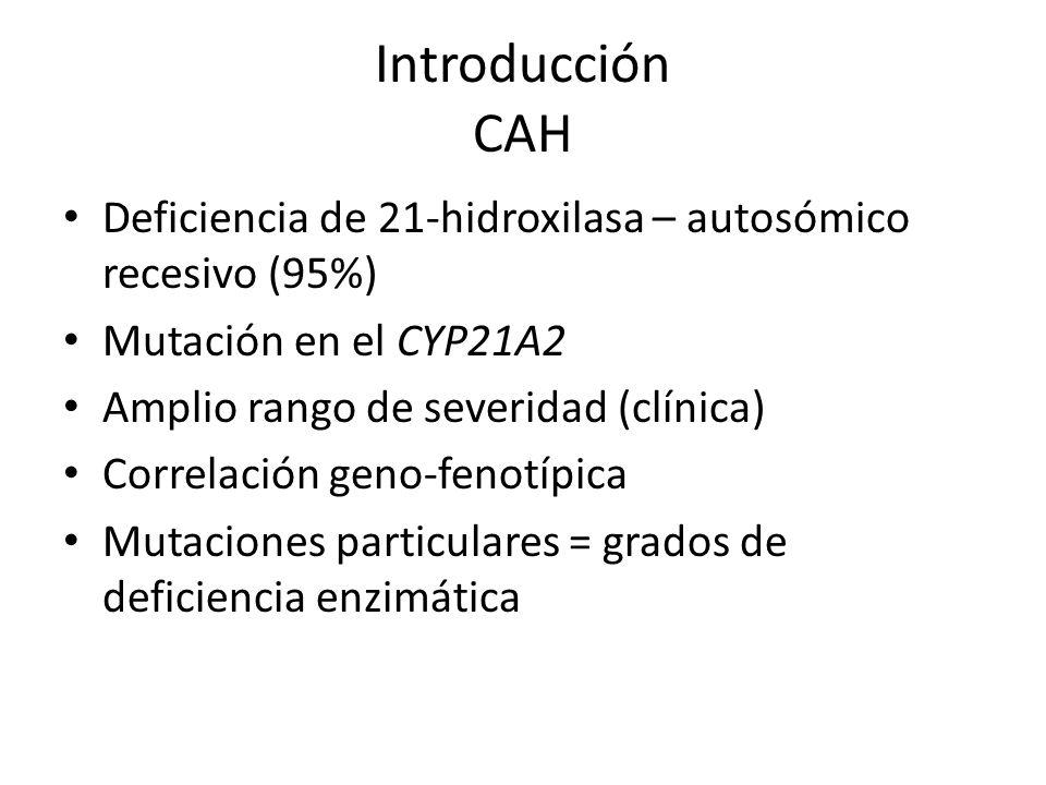 Introducción CAH Deficiencia de 21-hidroxilasa – autosómico recesivo (95%) Mutación en el CYP21A2 Amplio rango de severidad (clínica) Correlación geno