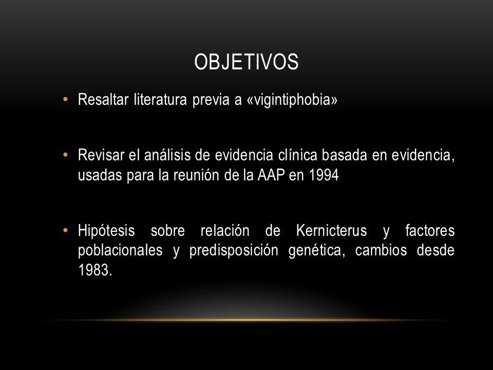 OBJETIVOS Resaltar literatura previa a «vigintiphobia» Revisar el análisis de evidencia clínica basada en evidencia, usadas para la reunión de la AAP en 1994 Hipótesis sobre relación de Kernicterus y factores poblacionales y predisposición genética, cambios desde 1983.