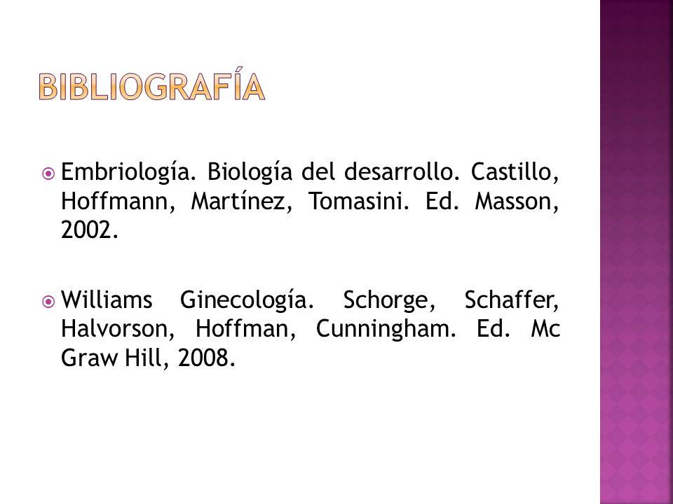 Embriología. Biología del desarrollo. Castillo, Hoffmann, Martínez, Tomasini. Ed. Masson, 2002. Williams Ginecología. Schorge, Schaffer, Halvorson, Ho