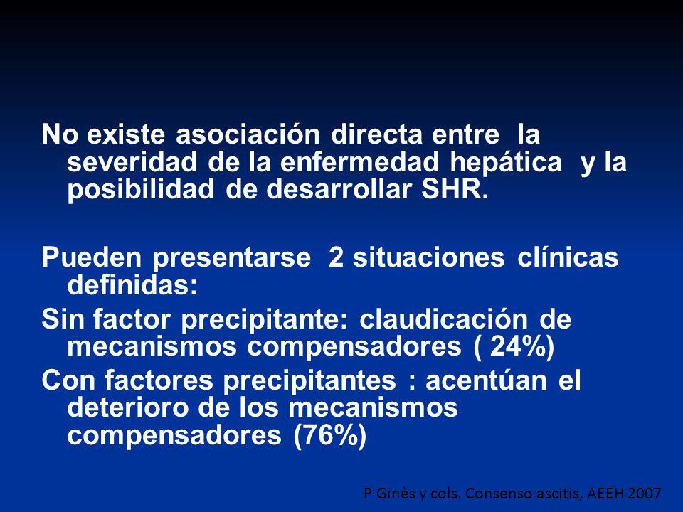 No existe asociación directa entre la severidad de la enfermedad hepática y la posibilidad de desarrollar SHR. Pueden presentarse 2 situaciones clínic