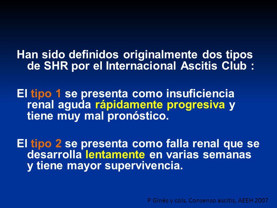 Han sido definidos originalmente dos tipos de SHR por el Internacional Ascitis Club : El tipo 1 se presenta como insuficiencia renal aguda rápidamente